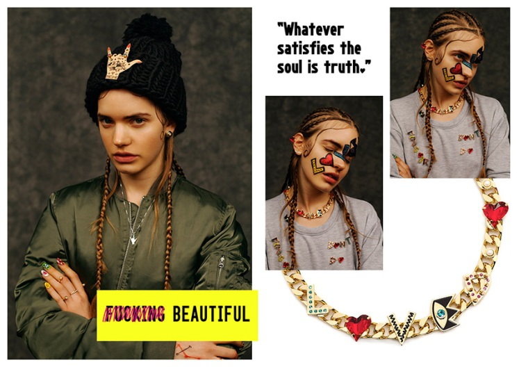 MFP's avant-garde inspired jewellery. Model wear knitted hat with hand pendant or 'stackable jewellery'. The use of swarvoski crystals  bring and graffiti styled letters bring the necklace to life