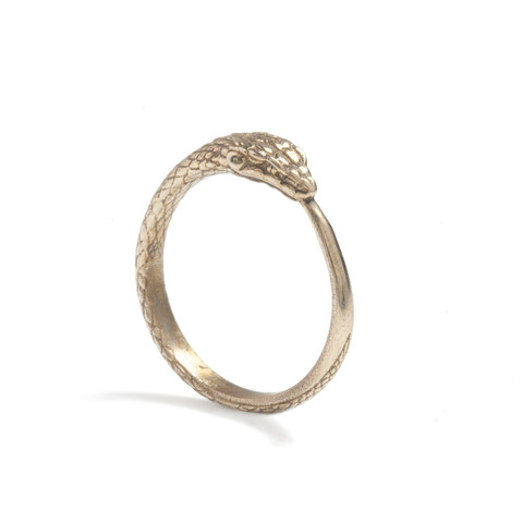 Alchemical Snake Ring in Bronze by Rachel Entwistle.