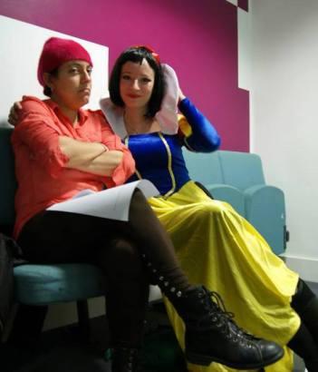 Grumpy (Maria Bermeo) and Snow White (Debbra Goldreich)
