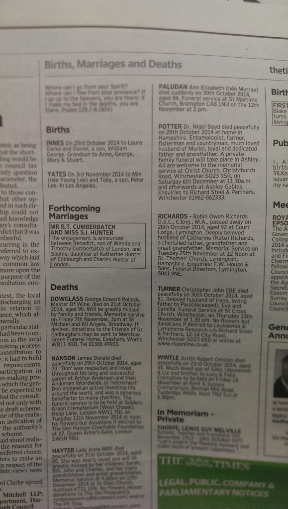 Cumberbatch's Engagement in The Times Newspaper